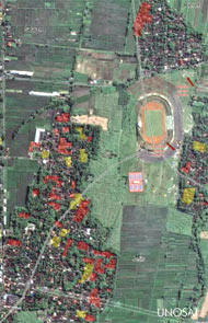 Satellite imagery provided by ITU to Indonesia, showing (in red and yellow) damage caused by the Java earthquake in May 2006. Source: UNOSAT