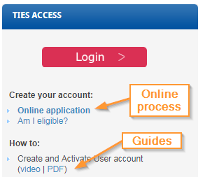Screenshot of TIES services page with account creation link and guide highlighted
