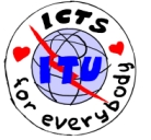 "ITU logo with the text ""ICTs for everybody"" surrounding it"