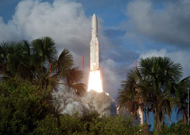 The Ariane 5 launch vehicle leaving Kourou Spaceport in French Guiana