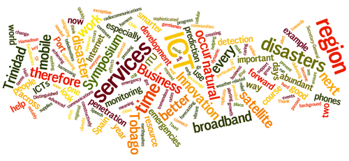 Cloud of words: Trinidad, broadband, disasters, services, business,...