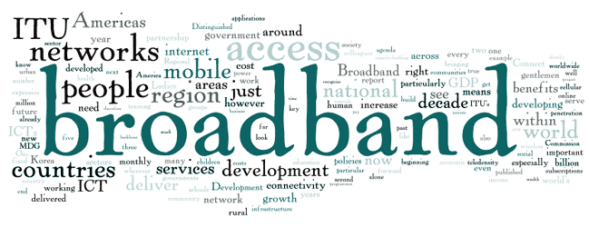 Cloud of words: broadband, ITU, networks, people, access, mobile, region...