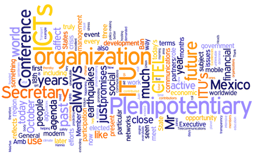 Cloud of Words: Conferene, Plenipotentiary, Mexico, organization, ICTs, Secretary...