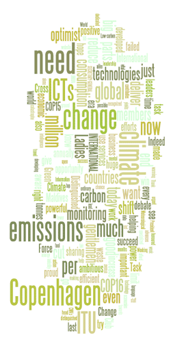 Cloud of words: need, ICTs, change, emissions, Copenhagen, climate...