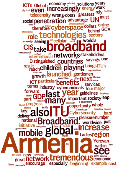 Cloud of words: Armenia, broadband, technologies, ITU, CIS, UN, networks, children...