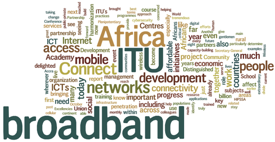 Coud of words: ITU, Africa, broadband, people, countries, connectivity...