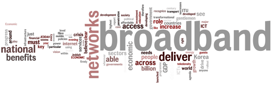 Words cloud: broadband, networks, deliver, national, benefits, access, increase...