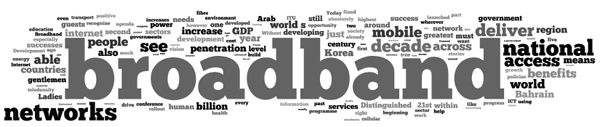 Cloud of Words: broadband, national access, mobile, decade, networks, increase, penetration,...