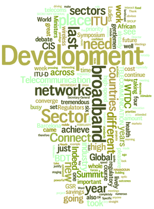 Cloud of words: development, sectors, broadband, networks, connect, achieve, CIS, ...