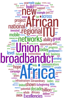 Words cloud: ICTs, broadband, services, helping, public, people, right, education, Milenium,...
