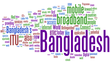 Cloud of words: Bangladesh, ITU, mobile, broadband, world, connect,...