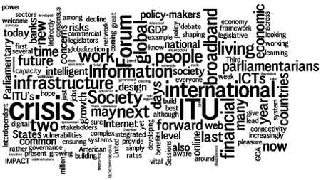 Cloud of words: ITU, society, international, crisis, infrastructure, people, parliamentarians
