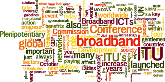 Cloud of words: Conference, ITU, Commission, broadband, global, Plenipotentiary, Moldova