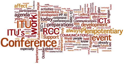 Cloud of words: Conference, ITU, Plenipotentiary, communications, preparations, support, action...