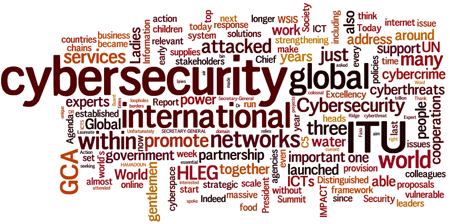 Cloud of words: cybersecurity, international, ITU, GCA, networks, atacked, world,...