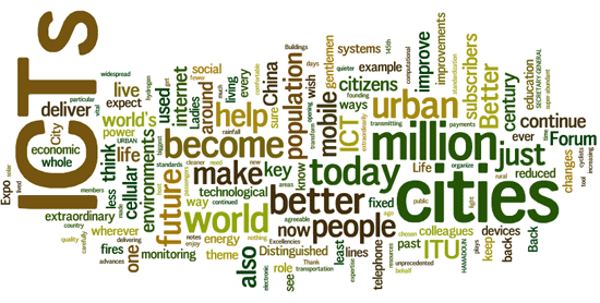 Cloud of words: ICTs, cities, world, millions, today, better, people, future, urban...