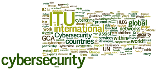 Cloud of words: ITU, Cybersecurity, countries, global, GCA, UN, ...