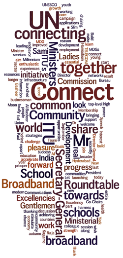Cloud of words: connect, school, UN, together, roundtable, community, broadband...