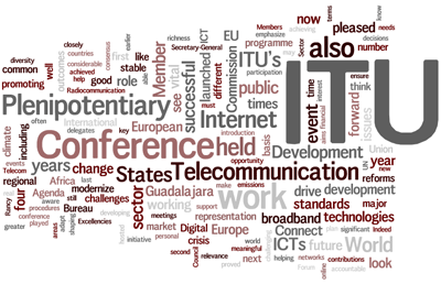 Cloud of words: ITU, plenipotentiary, EU, conference, telecommunication, internet...