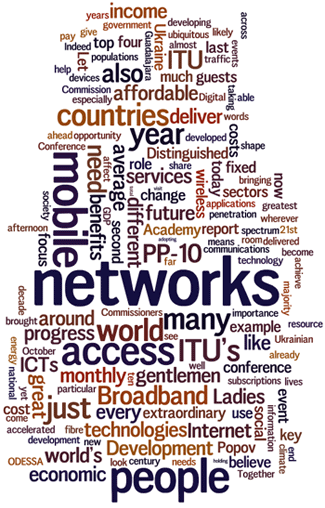 Cloud of words: networks, mobile, broadband, countries, ITU, people, economic, access...
