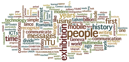 Cloud of words: exhibition, people, messages, ITU, time, history, communication, technology...