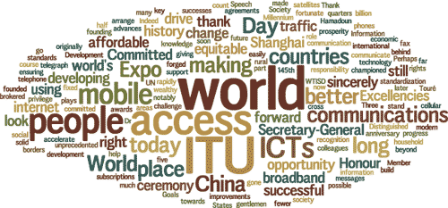 Cloud of words: ITU, world, China, Expo, people, mobile, communications, ...