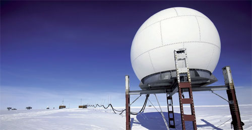 A research station monitoring polar ice