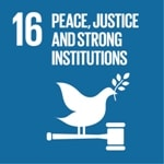 Goal 16: Peace, justice and strong institutions logo